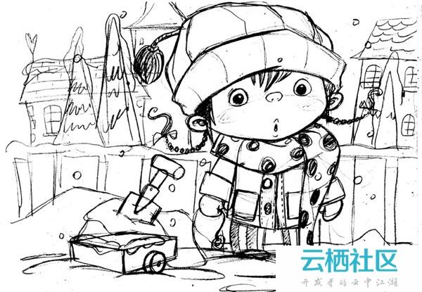 PS绘制可爱的雪地里的小女孩儿童插画绘制教程-雪地插画
