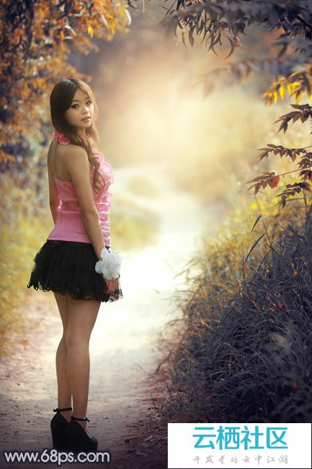 Photoshop打造阳光下的暖色深秋树林人物图片-photoshop打造
