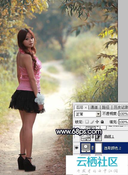 Photoshop打造阳光下的暖色深秋树林人物图片-爱在深秋 电影