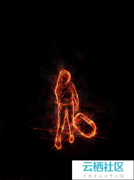 PS利用滤镜及素材快速把人物转为火焰人像-人像滤镜